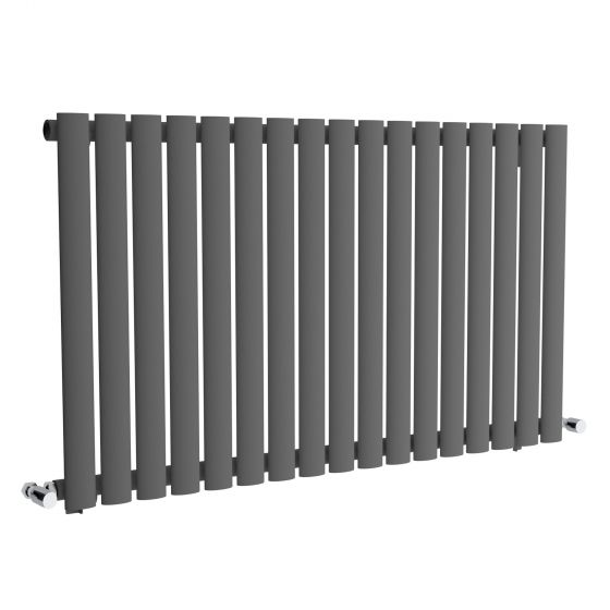 Anthracite Single Panel Oval Tube Horizontal Radiator 600x1020mm