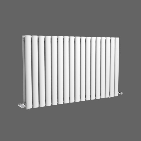 White Double Panel Oval Tube Horizontal Radiator 600x1020mm