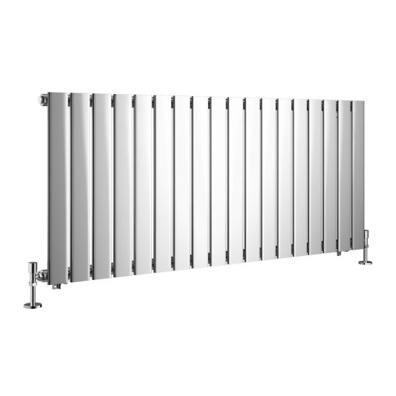 Chrome Single Flat Panel Horizontal Radiator 600x1380mm