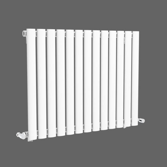 White Single Panel Oval Tube Horizontal Radiator 600x780mm