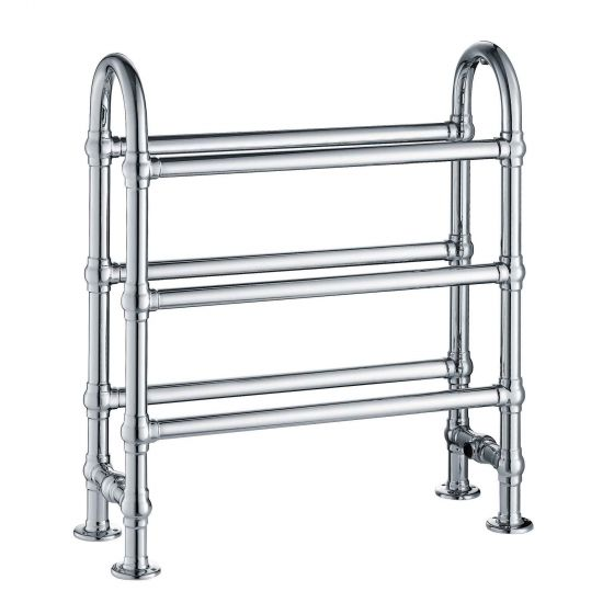 Floor Standing Traditional Chrome Towel Rail Radiator -778x686mm