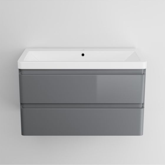 800mm Denver II Gloss Grey Built In Basin Drawer Unit - Wall