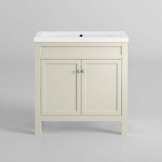 800mm Melbourne Ivory Double Door Vanity Unit - Floor Standing