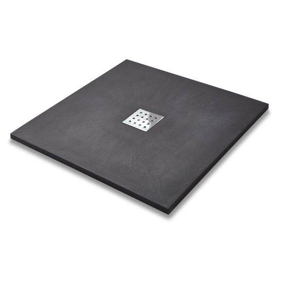 900x900mm Square Slate Effect Shower Tray & Chrome Waste