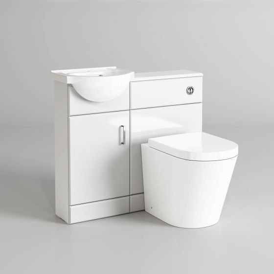 903mm Quartz Gloss White Combined Suite with Toilet & Basin - Ly