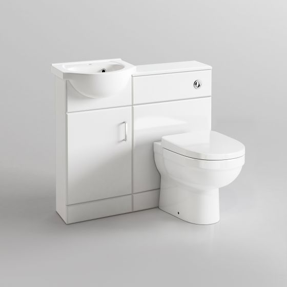 903mm Quartz Gloss White Combined Suite with Toilet & Basin - Sa