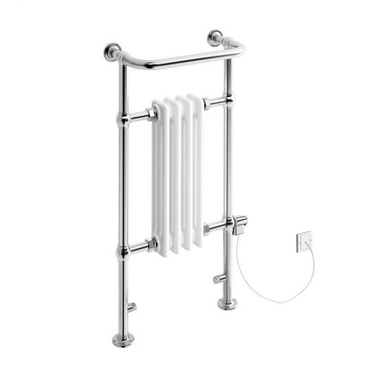 Small Electric Thermostatic Traditional White Towel Radiator 952x405mm