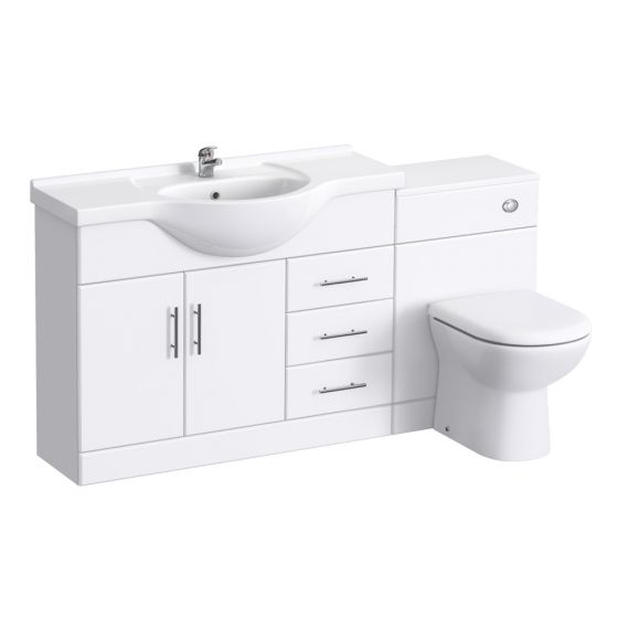 Alaska 1520mm Vanity Unit Bathroom Suite (High Gloss White - Depth 330mm)
