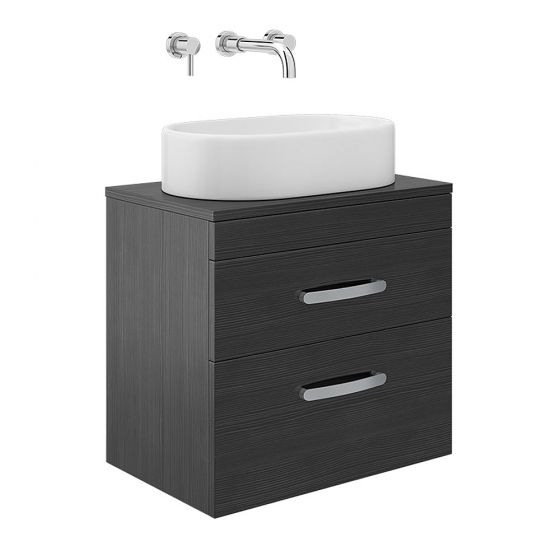 Brooklyn 605mm Black 2 Drawer Wall Hung Cabinet inc Counter Top Basin