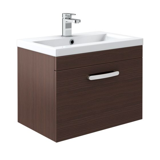 Brooklyn Brown Avola Wall Hung Vanity Unit - Single Drawer - 600mm