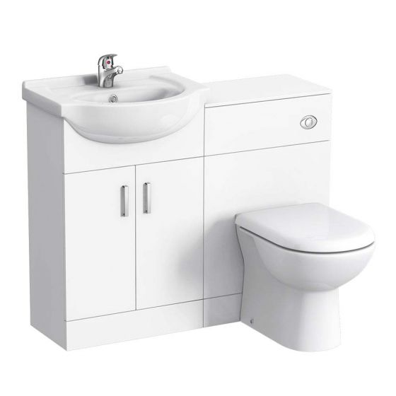 Cove 1050mm Vanity Unit Cloakroom Suite (Gloss White - Depth 300mm)