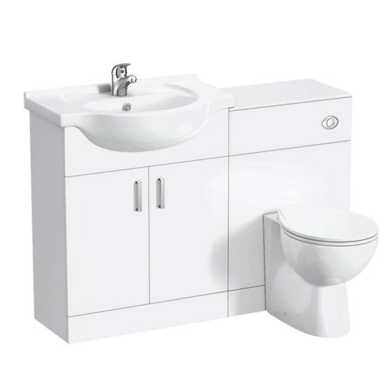 Cove 1150mm Vanity Unit Cloakroom Suite (Gloss White - Depth 300mm)