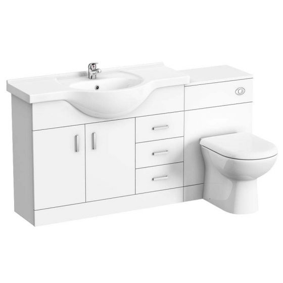 Cove 1520mm Vanity Unit Bathroom Suite (High Gloss White - Depth 330mm)