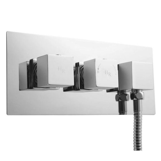 Hudson Reed Kubix Twin Concealed Thermostatic Shower Valve with Built-In Outlet - A3063