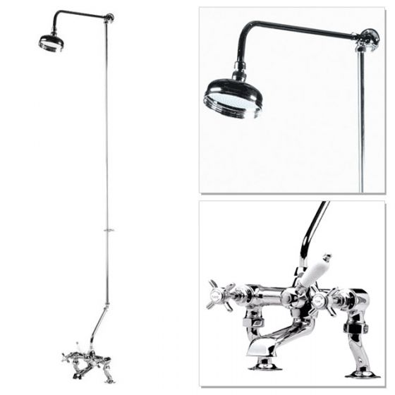 """Premier Traditional 3/4"""" Cranked Bath/Shower Mixer with Rigid Riser Kit - Chrome Plated"""
