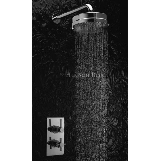 """Hudson Reed Tec Pura Twin Concealed Thermostatic Shower Valve w/ 8"""" Fixed Head"""