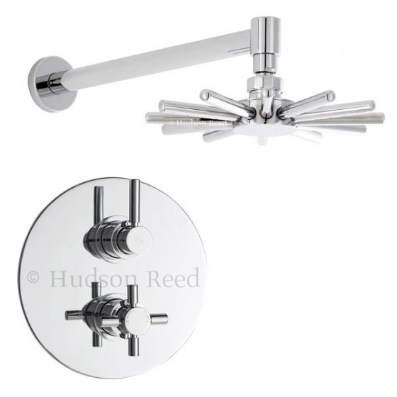 Hudson Reed - Tec Twin Concealed Thermostatic Shower Valve with Cloudburst Head