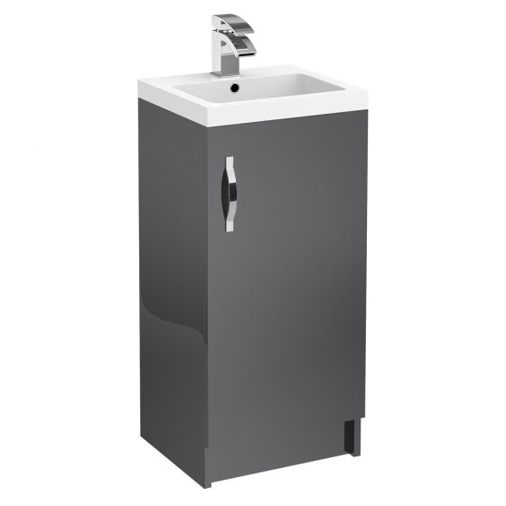 Apollo 400mm Floor Standing Vanity Unit (Gloss Grey - Depth 355mm)