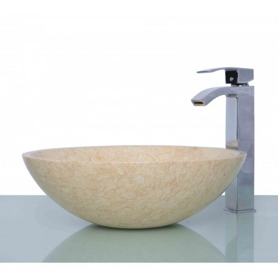Marble Stone Beige Round  Countertop Wash Basin with Free Waste