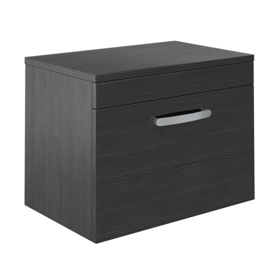 Brooklyn 605mm Black Worktop & Single Drawer Wall Hung Cabinet