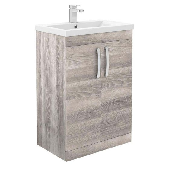 Brooklyn 600mm Driftwood Vanity Unit - Floor Standing 2 Door Unit