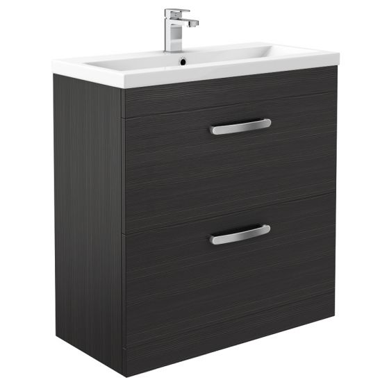 Brooklyn 800mm Black Vanity Unit - Floor Standing 2 Door Unit