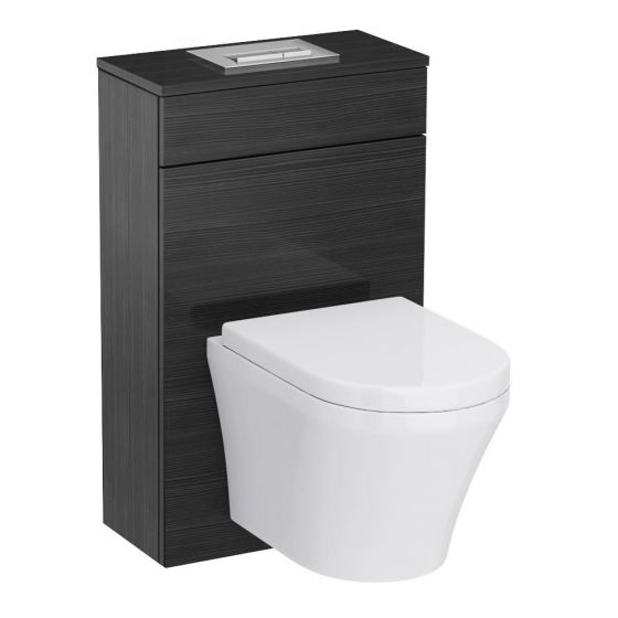 Brooklyn Black WC Unit Inc. Cistern Frame, Flush Plate + Wall Hung Pan