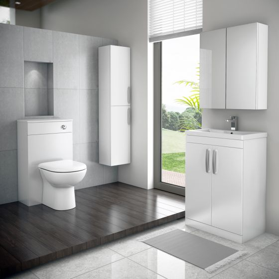 Brooklyn WC Unit with Cistern - White Gloss - 500mm