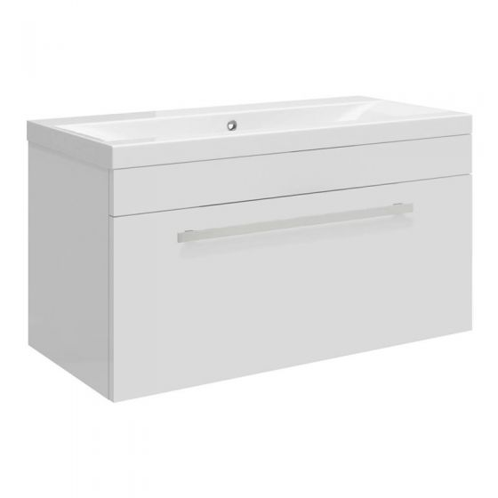 Ultra Design 800mm 1 Drawer Wall Mounted Mid-edged Basin & Cabinet - Gloss White - CAB149-BAS123