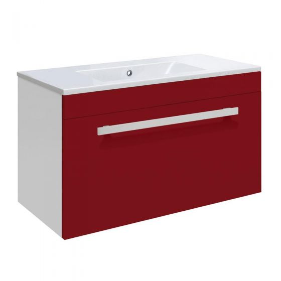 Ultra Design 600mm 1 Drawer Wall Mounted Basin & Cabinet - Gloss Red - 2 Basin Options