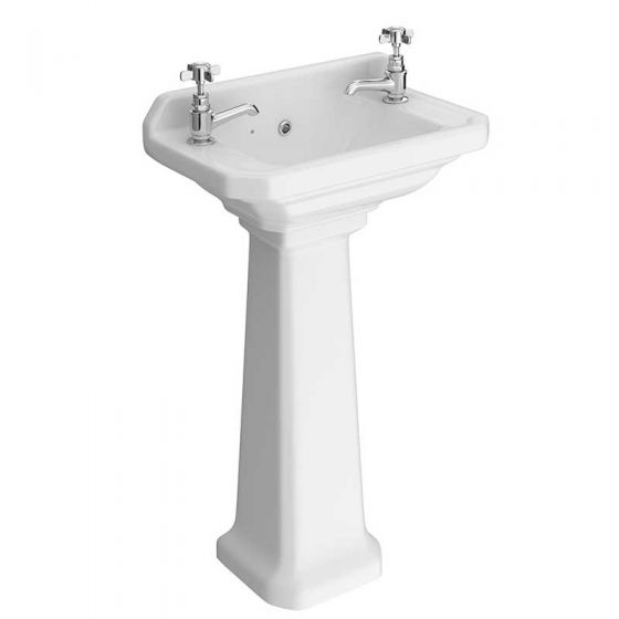 Carlton Cloakroom Basin with Full Pedestal (2 Tap Hole - 515mm Wide)