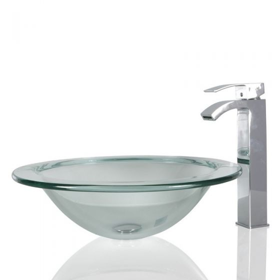 Round Clear Glass Wash Countertop Basin & Free Waste