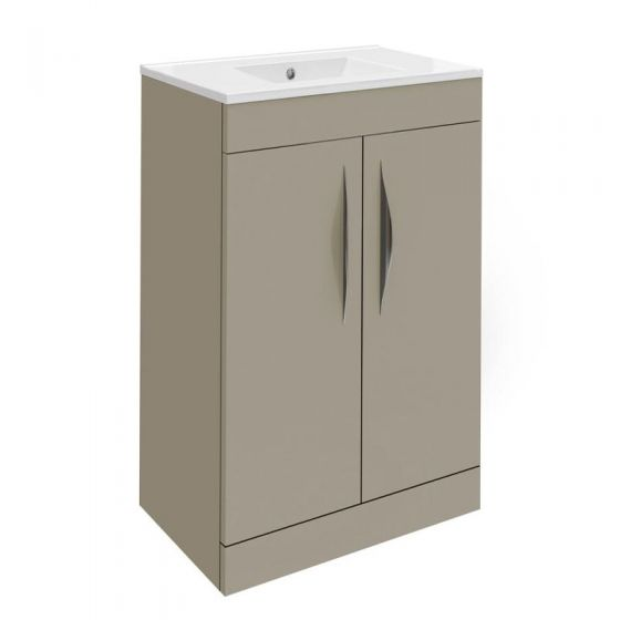 Hudson Reed Memoir Compact 500mm 2 Door Floor Mounted Basin & Cabinet - Gloss Cashmere - FME035