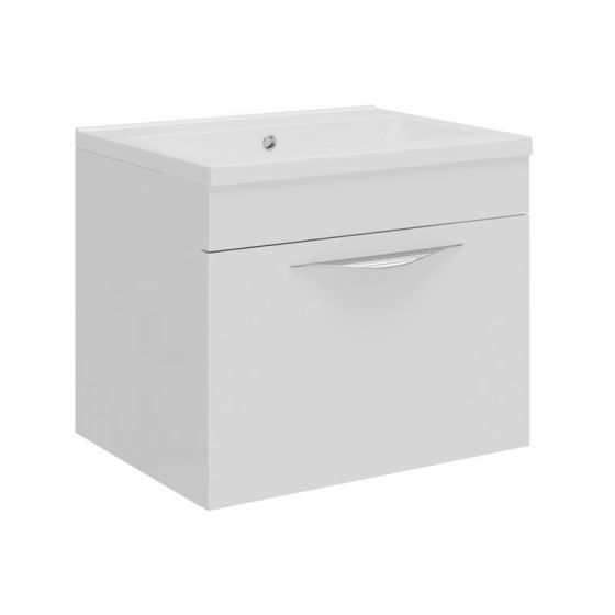 Hudson Reed Memoir Compact 500mm 1 Drawer Wall Mounted Basin & Cabinet - Gloss White - FME037