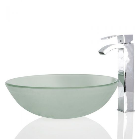 Frosted Glass Round Wash Basin & Free Waste