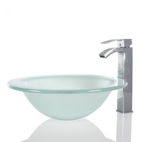 Round Glass Frosted Wash Countertop Basin & Free Waste