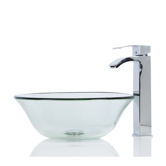 Clear Round Wash Countertop Basin & Free Waste