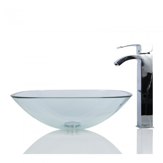 Clear Square Wash Countertop Basin & Free Waste