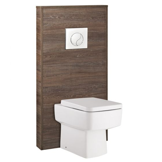 Hudson Reed - Horizon 600mm Slimline Back to Wall WC Unit with Cistern & Pan - Mid Sawn Oak