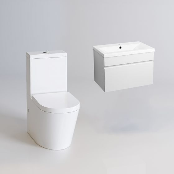 Lyon II Toilet & Trent Wall Hung Basin Cabinet Set - Gloss White
