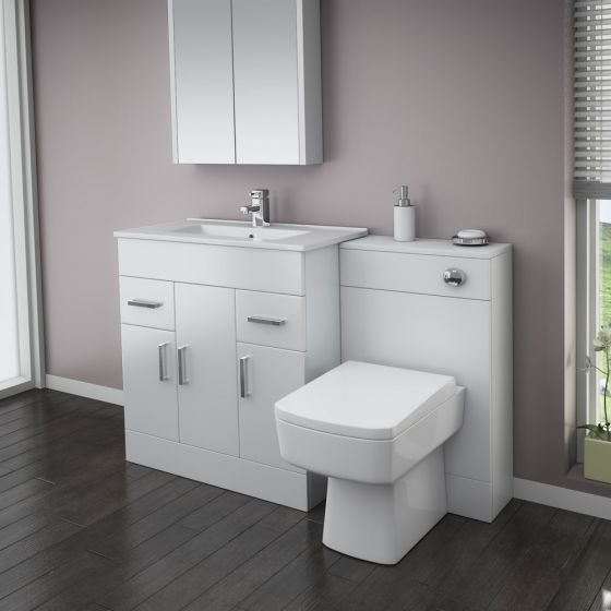 Turin High Gloss White Vanity Unit Bathroom Suite W1300 with Bliss square BTW pan