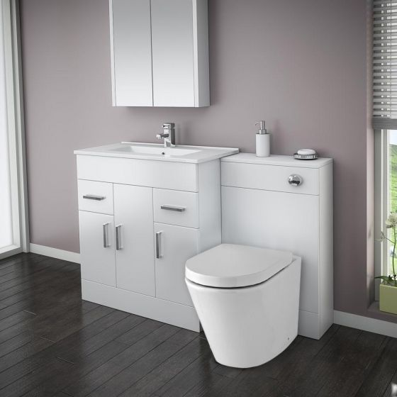 Turin High Gloss White Vanity Unit Bathroom Suite W1300 with Solace BTW pan
