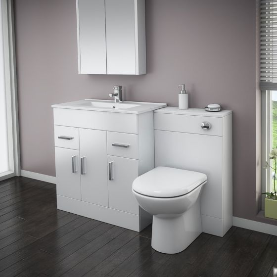 Turin High Gloss White Vanity Unit Bathroom Suite W1300 with D-shaped BTW pan