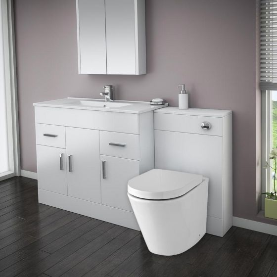 Turin High Gloss White Vanity Unit Bathroom Suite W1500 with Solace BTW pan