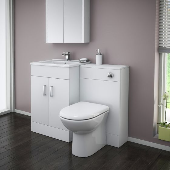 Turin High Gloss White Vanity Unit Bathroom Suite W1100 with D-Shaped BTW Pan