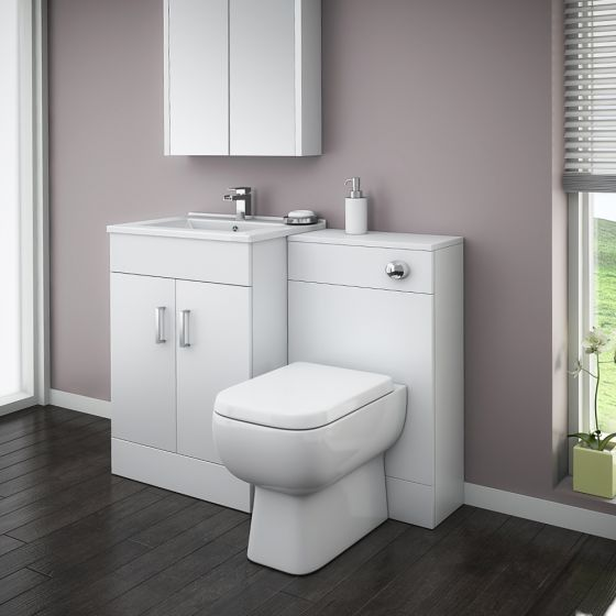 Turin High Gloss White Vanity Unit Bathroom Suite W1100 with Series 600 BTW Pan