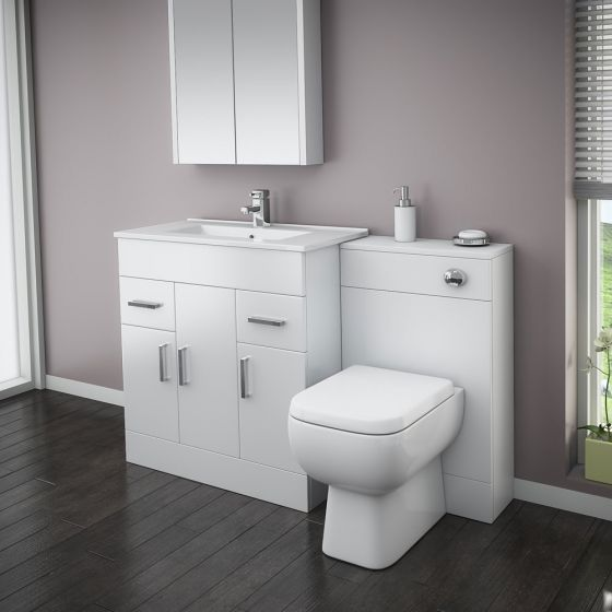 Turin High Gloss White Vanity Unit Bathroom Suite W1300 with Series 600 BTW pan