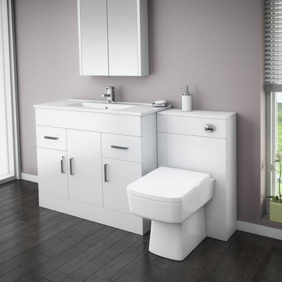 Turin High Gloss White Vanity Unit Bathroom Suite W1500 with Bliss square BTW pan