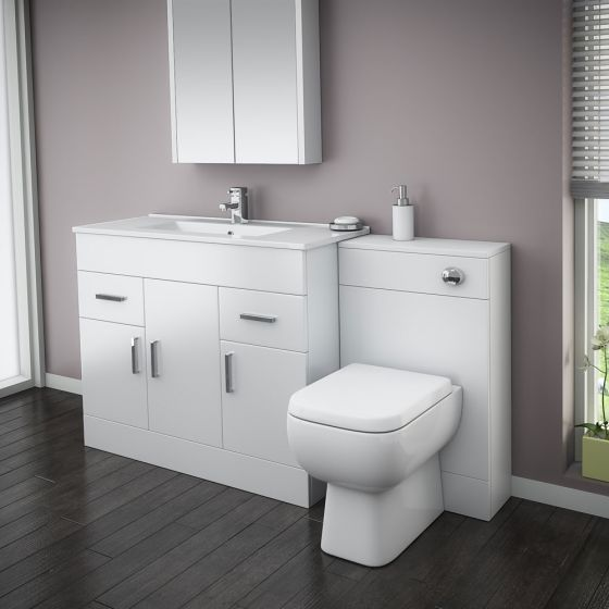 Turin High Gloss White Vanity Unit Bathroom Suite W1500 with Series 600 BTW pan