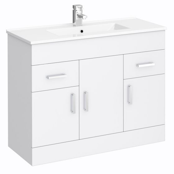 Turin Vanity Sink With Cabinet - 1000mm Modern High Gloss White